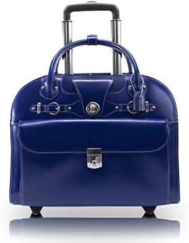 McKlein, L Series, EDGEBROOK, Top Grain Cowhide Leather, 15 Leather Wheeled Ladies Laptop Briefcase, Navy 96317