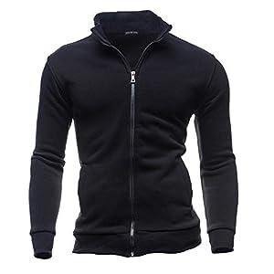 Fashion's Casual Men's Zipper Solid Leisure Sports Cardigan Sweatshirts Tops Jacket Coat