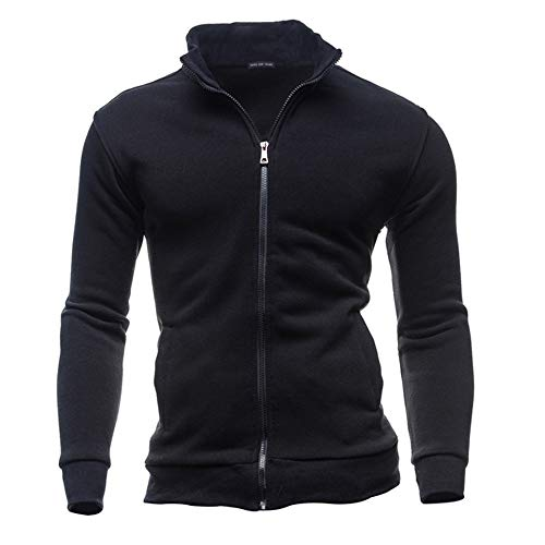 Fashion's Casual Men's Zipper Solid Leisure Sports Cardigan Sweatshirts Tops Jacket ()