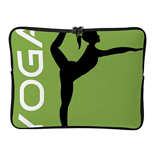 Laptop Sleeve Water Repellent Neoprene Bag Protective Case Cover Compatible with MacBook Pro/Asus/Dell/Hp/Sony/Acer 17 Inch, Yoga Pose Silhouette on Green Background -  Elvoes, Elv-g82jeatg-5