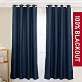 YIBU 100% Blackout Curtains Set, Thermal Insulated & Energy Efficiency Window Drapery, Lined Silky Performance (2 Panels, W42 x L63 -Inch, Blue)