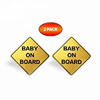 A+ TOP QUALITY - 2 PACK - Baby On Board Reflective Car Magnets Weatherproof 5x5 Golden Yellow
