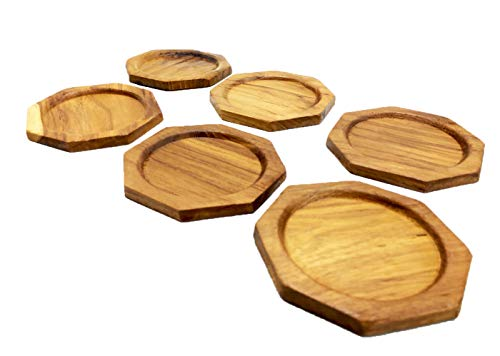 (Eco Creation Premium Natural Wood Coaster Set (6 Pack) Wooden Coasters Saucers Set for Office, Bar Counter, Restaurant Or Party. Beautiful Decorative Pieces (Teak Wood Octagon))