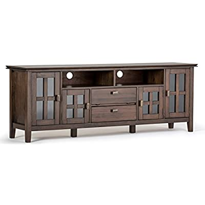 """Simpli Home Artisan SOLID WOOD Universal TV Media Stand, 72 inch Wide, Contemporary, Storage Cabinet with Glass Doors, for Flat Screen TVs up to 80 inches, Natural Aged Brown - DIMENSIONS: 16.5"""" D x 72"""" W x 26"""" H SOLID WOOD: Handcrafted with care using the finest quality Pine HAND FINISHED with a Rustic Natural Aged Brown stain and a protective NC lacquer to accentuate and highlight the grain and the uniqueness of each piece of furniture - tv-stands, living-room-furniture, living-room - 41ery3qUhlL. SS400  -"""