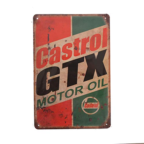 PEI's Retro Vintage Tin Metal Sign, Castrol Motor Oil, Wall Decor for Home Garage Bar Man Cave, 8x12/20x30cm ()