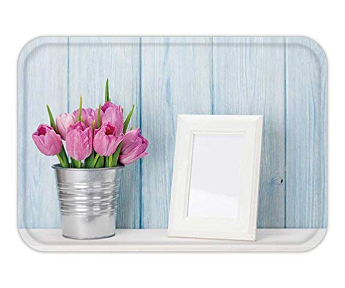 Usvbzd Doormat Fresh Pink Tulip Flowers Bouquet and Blank Photo Frame with Copy Space on Shelf in Front of ()