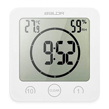 ATUSY Wall Clocks|Digital Wall Clock Digital Bathroom Clock Waterproof Shower Clock Timer Temperature Humidity