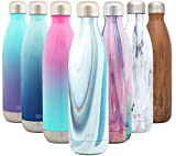 Simple Modern 25 Ounce Wave Water Bottle - Stainless Steel Double Wall Vacuum Insulated Metal Reusable - Leakproof Pattern: Ocean Quartz