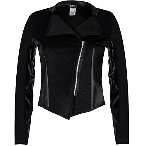 Contenta Women's Moto Blazer. Motorcycle Long Sleeve Contrast Side Zip Jacket. (x-small, black/pu (Party City Canada Careers)