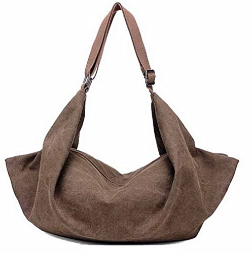, Ropbl180688 Odomolor Brown Canvas Zipper Casual Women Fashion Handbags Cross Handbags