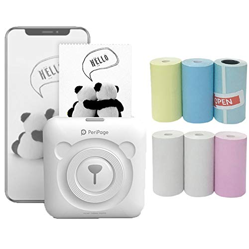 Mini Portable Wireless Bluetooth Thermal Printer Pocket Printer 58mm Image Photo Label Memo Receipt Paper Printer Support for Android iOS Smartphone Windows with 6+1 Thermal Paper Rolls (White)