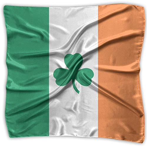 PINGMINDIAN Women's Handkerchief Irish Flag Shamrock Square Neck Scarf Hair Scarves Wrap Headscarf as picture-Small