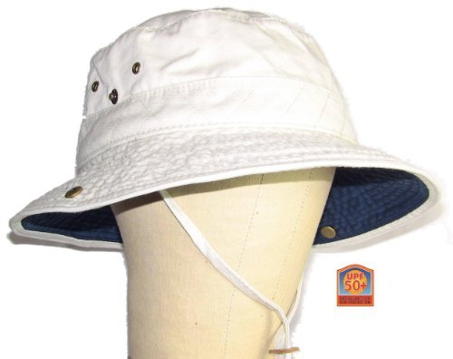 Dorfman Pacific Outdoor Putty & Navy Bucket Hat Extra Large