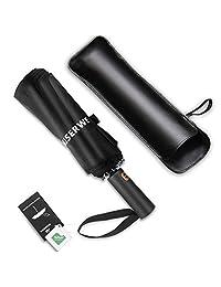 Miserwe Umbrella 12 Ribs with Teflon Coating Umbrella Windproof Lengthened Handle Travel Umbrella with Auto Open Close Button
