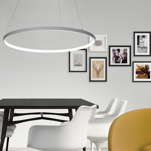 LightInTheBox Acrylic Chandelier Modern 80cm Cut LED Ring Pendant Light With Oval 1 Ring Max 40W Chrome Finish,Ceiling Light Fixture (White)