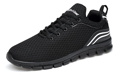 Belilent Men's Lightweight Running Shoes Breathable Athletic Casual Shoes, All Black-073, 42 M EU / 9 D(M) - Light Ab3