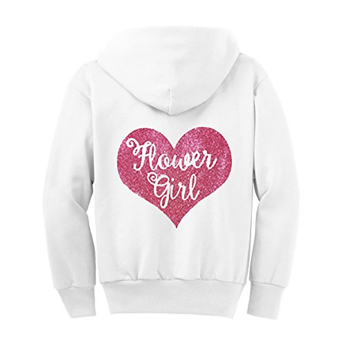 Flower Girl Glitter Hoodie - White and Pink (6) by Classy Bride