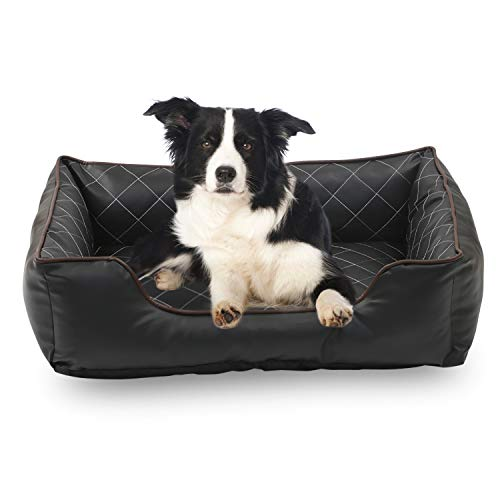 Happycare Textiles Luxury All Sides Faux leather Rectangle Pet Bed.  Black color, 26x18 inches