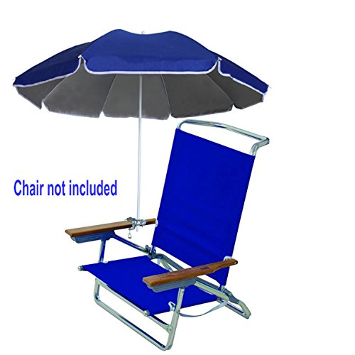 AMMSUN 4.5ft Portable Deck Chair Umbrella Lightweight Balcony Parasol + Clamp On Screw ,Children Clip Beach Umbrella Sun Shelter Shade Silver Coating Inside Royal Blue (Chair not - Chair Royal Childs