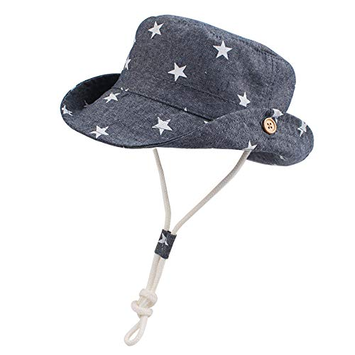 Baby Toddler Sun Protection Hat Cotton Boys Animal Bucket with Chin Strap Adjustable Wide Brim Caps (Star, M(1-2T))]()