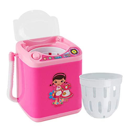 Automatic Makeup Brush Cleaner Device Simulation Mini Cleaning Washing Machine Baby Laundry Playset Toy for Kids (Pink)