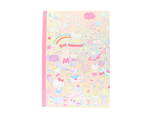 Sanrio Character Multicolor Notebook Ruled Sheets Japan Limited Edition Cinnamoroll-Hello kitty-Little Twin Star -1 notebook per order- Made in Japan (Hello Kitty)