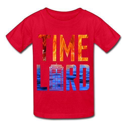 Soulya Youth's Doctor Who Time Lord Element Kids Boys And Girls Short Sleeves Cotton T Shirt Size M Red (Time And Relative Dimension In Space T Shirt)