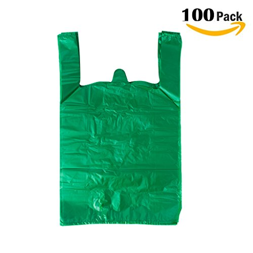 Single Buggy Bag - LazyMe Plastic Sturdy Thick Green T Shirt Bags, Handle Merchandise Bags, Multi-Use Mudium Size, Plain Grocery Bags, Durable, 12 x 20inch, 100 pcs (100, Green)