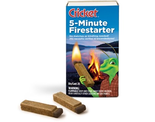 Cricket 5-Split second Firestarters, Box of 20, Lights Like a Match, Used for Charcoal Grills, Campfires, Barbecues, Fireplaces, and More, No Lighter Fluid Needed (20 Package)