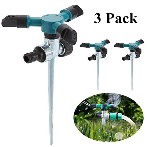 HOMPAT 3 Pack Garden Water Sprinkler Automatic 360° Rotating Adjustable Garden Water Lawn Sprinkler System with Up to 3,000 Sq. Ft Coverage with 3 Arms Sprayer (3 Pack Sprinlkers)