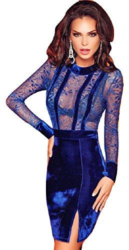 Neuf pour femme Bleu en velours doux & Mini robe en dentelle Robe de cocktail Soirée d'été robes Taille M UK 8–10EU 36–38
