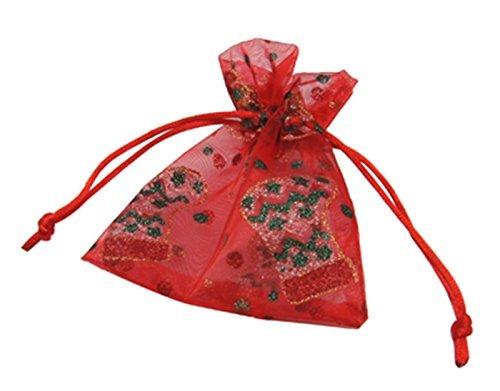 20 Rote Organzasäckchen verziert mit Nikolausstiefel Geschenksäckchen 10 x 12cm vom Bastel Express