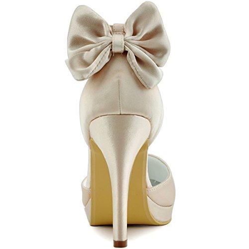 Zapatos Sandalias Novia De Redonda Boda De 10CM De Verano Arco De De De Punta Las Dama Suela Honor Noche Primavera Tacones De Satén Plataforma Mujeres 5CM De Altos Zapatos Champagne 1 Banquete 16gqnfOn