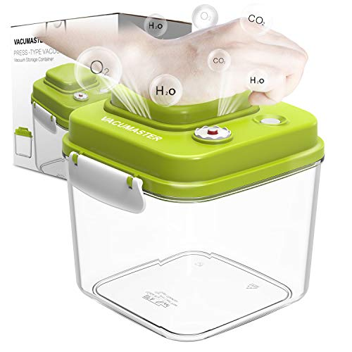 Food Storage Container with Vacuum Sealed Airtight Lid - Vacumaster Quick Marinator Leak Proof BPA Free Pumpable Press Type Fresh Keeper (1.4 (Vacuum Food Marinator)