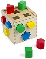 Melissa & Doug Shape Sorting Cube Classic Wooden Toy (Developmental Toy, Easy-to-Grip Shapes, Wooden Construction, 12 Pieces)