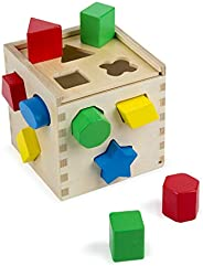 Melissa & Doug Shape Sorting Cube Classic Wooden Toy (Developmental Toy, Easy-to-Grip Shapes, Wooden Const