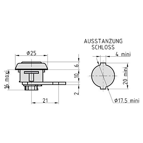 Levier Serrure HS 314/pour Brabantia Argent Cassette avec pince VS hellv ernic con/çue