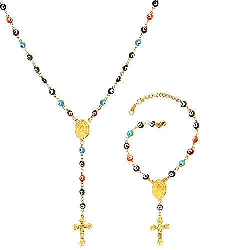 - 18K Gold Plated Evil Eye Chain Cross Charm Bracelet and Rosary Necklace Set