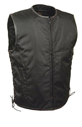 (Milwaukee Performance Men's Basic Textile Vest with Leather Trims (Black, Medium))