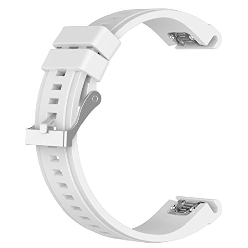 Price comparison product image Alonea Replacement Silicagel Quick Install Band Strap For Garmin Fenix 5X GPS Watch (White)