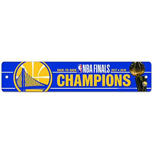 WinCraft Golden State Warriors Official NBA 3.75'' x 19'' 2018 National Champions Street Wall Sign 3.75x19 336903 by WinCraft