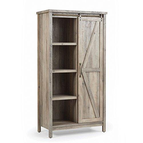Sauder 421191 Modern Farmhouse Storage Cabinet, Rustic Gray Finish