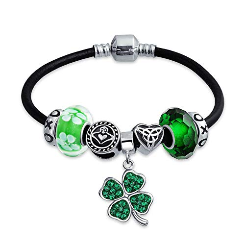 Black Claddagh Charms - Celtic Lucky Clover Green Shamrock Irish Knot Claddagh Bead Charm Bracelet Black Leather 925 Sterling Silver For Women