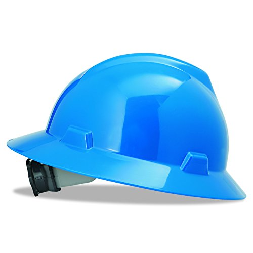 MSA Safety 475368 V-Gard Slotted Full-Brim Hat, Blue,, w/Fas-Trac III Suspension