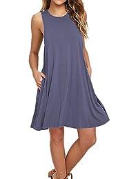 Women's Sleeveless Pockets Casual Swing T-Shirt Dresses