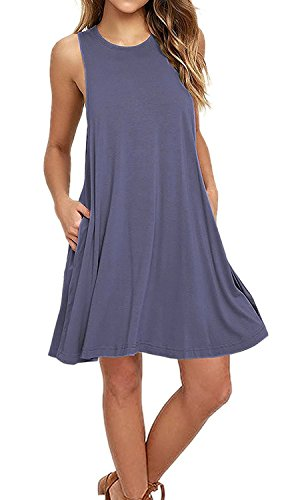 (AUSELILY Women's Sleeveless Swing Dress with Pockets Purple Gray )