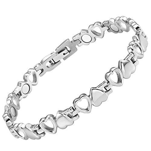 Womens Love Heart Titanium Magnetic Therapy Bracelet Adjustable