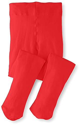 Monvecle Toddler to Big Girls' Opaque Microfiber Dance Stockings Kids School Uniform Footed Tights Red 10-14