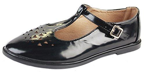 shoeFashionista Ladies Geeks T bar Flat Pumps Casual Girls Vintage Retro Cut Out Office Pumps Shoes Size Style D - Black Matt