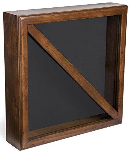 Displays2go, Flag Display Box, Tempered Glass & Pine Wood Construction - Cherry, Black Finish (FC59FLG3CH)
